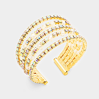 Multi Strand Pave Rhinestone Faceted Beads Cuff Bracelet