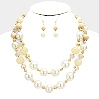 Double Layered Wood Pearl Beaded Bib Necklace