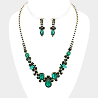 Pave Glass Crystal Teardrop Accented Necklace