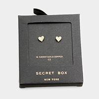 Secret Box _ 14K Gold Dipped CZ Heart Stud Earrings