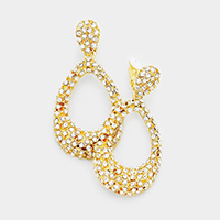 Crystal Rhinestone Pave Teardrop Clip on Earrings