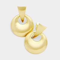 Cut Out Round Metal Clip on Earrings