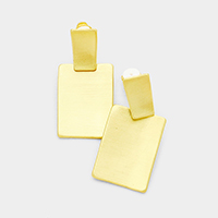 Double Rectangle Metal Clip on Earrings