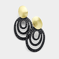 Layered Oval Hoop Colored Metal Clip on Earrings