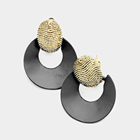 Textured Oval Metal Cut Out Colored Metal Clip on Earrings