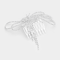 Pave Crystal Rhinestone Bow Fringe Hair Comb