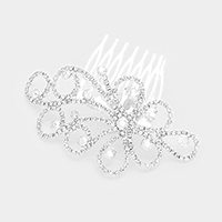 Floral Pave Crystal Rhinestone Hair Comb