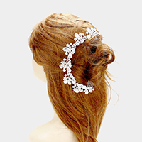 Floral Pave Glass Crystal Hair Comb