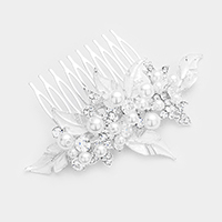 Pearl Stone Flower Leaf Cluster Hair Comb