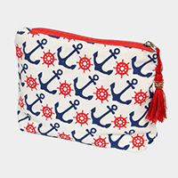 Anchor Ship Wheel Pattern Tassel Cosmetic Pouch Bag