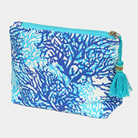 Coral Pattern Tassel Cosmetic Pouch Bag
