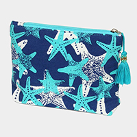 Starfish Pattern Tassel Cosmetic Pouch Bag