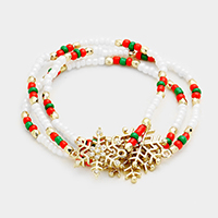 3Layers Multi Beaded Snowflake Stretch Bracelet