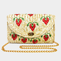 Embroidery Strawberry Pattern Straw Clutch Bag