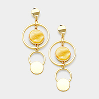 Geometric Celluloid Acetate Disc Accented Earrings