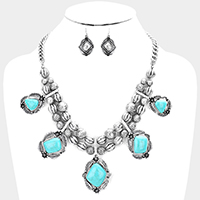 Antique Metal Turquoise Statement Bib Necklace