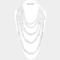 Multi Strand Clear Beaded Bib Necklace
