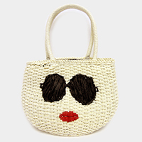 Embroidery Face Soft Straw Tote Bag
