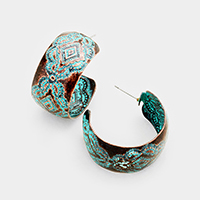 Antique Patterned Half Hoop Metal Earrings