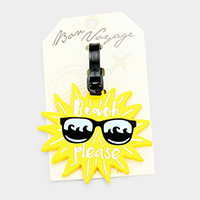 Beach Please Sun _ Bon Voyage Rubber Luggage Tag