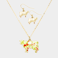 Flower Pattern Cow Pendant Pearl Necklace