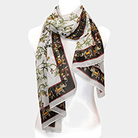 Elephant Border Flower Leaf Chiffon Scarf