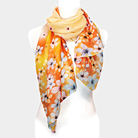 Botanical Flower Pattern Chiffon Scarf