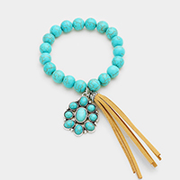 Turquoise Beaded Suede Tassel Stretch Bracelet