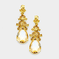 Glass Crystal Teardrop Accented Evening Earrings