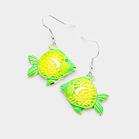 Fish Colored Metal Dangle Earrings