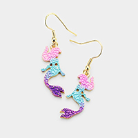 Mermaid Colored Metal Dangle Earrings