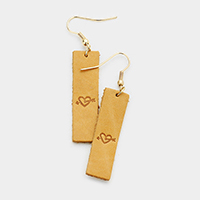 Leather Engraved Heart Arrow Rectangle Earrings