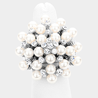 Pearl Bloom Pave Stretch Ring