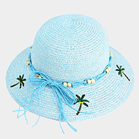 Embroidery Palm Tree Bow Trim Straw Sun Hat