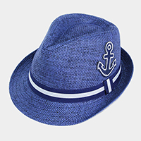 Anchor Patch Detail Striped Trim Straw Fedora