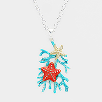 Starfish Reef Metal Pendant Necklace