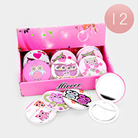 12PCS - Owl Print Round Compact Mirrors