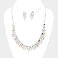 Curved Pave Crystal Rhinestone Flower Necklace