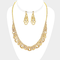 Pave Crystal Rhinestone Teardrop Detail Necklace