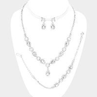 3-PCS Pearl Pave Stone Teardrop Dangle Necklace Jewelry Set