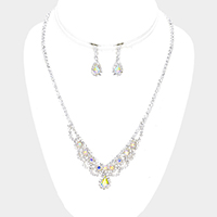 Draped Pave Crystal Rhinestone Teardrop Accented Necklace