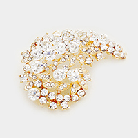 Leaf Pave Glass Crystal Bubble Cluster Pin Brooch