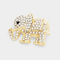 Pave Glass Crystal Elephant Pin Brooch