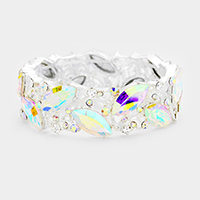 Oval Glass Crystal Leaf Cluster Evening Stretch Bracelet