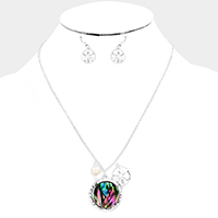 Abalone Disc Freshwater Pearl Sand Dollar Pendants Necklace