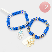 12PCS - Beaded Hamsa Hand Evil Eye Charm Stretch Bracelet