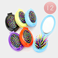 12PCS - Compact Folding Mirror Hair Brushes