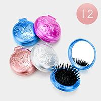 12PCS - Butterfly Compact Folding Mirror Hair Brushes