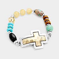 Wood Multi Beaded Two Tone Metal Cross Stretch Bracelet