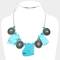 Abstract Turquoise Flower Repousse Concho Bib Necklace